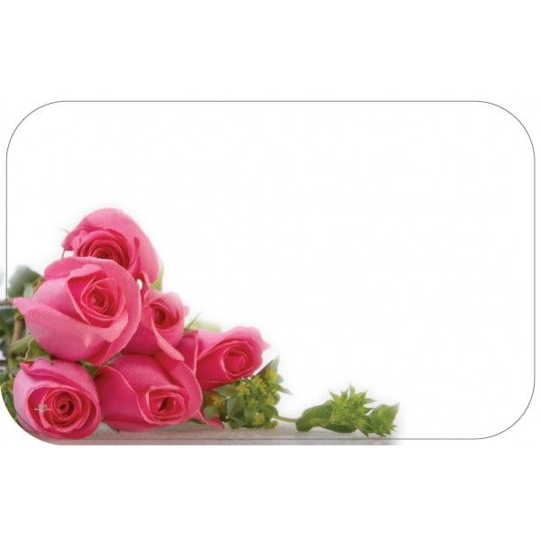 SP0394- Card No Sentiment W/ Pink Roses  50/Pkg