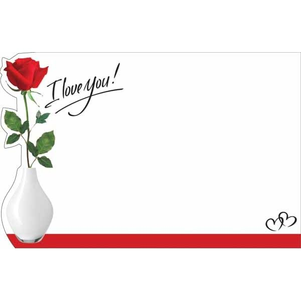 SP0490- Card I Love You Red Rose Bud  50/Pkg