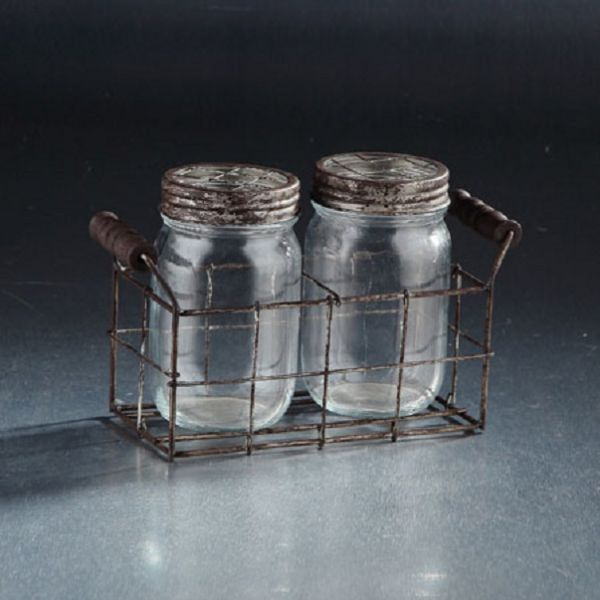 94021 –  5.5″HT X 8.5″L CLEAR JARS W/LIDS SET/2 IN CADDY