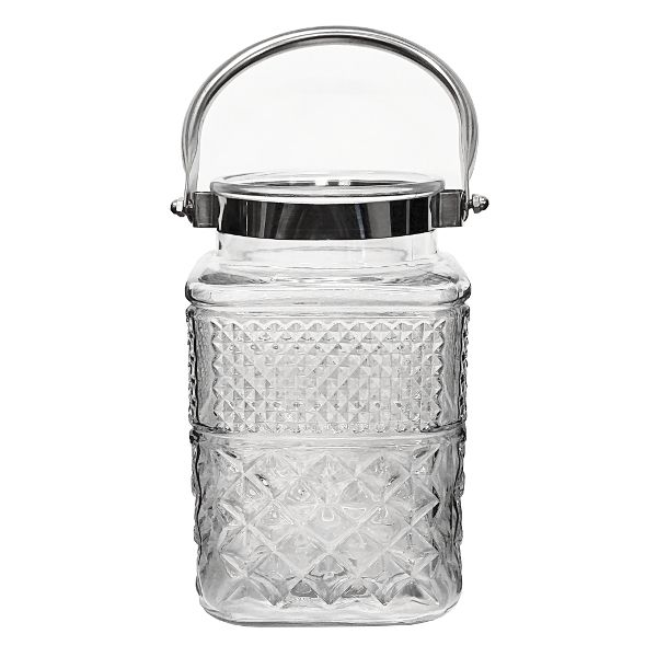 G3042- VASE 7″ SQ CLEAR EMBOSSED W/SIL HDL CS/6