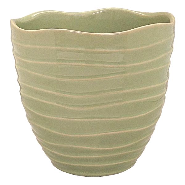85-5545-6GRN- PLANTER 6.25 HT X 6.5″ OP WAVY SAGE GREEN – CS OF 12