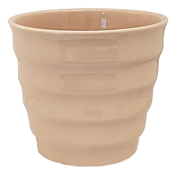 85-5548-7CHM- PLANTER 5.5 HT X 6.5″ OP OP RIBBED TAPERED CHAMPAGNE