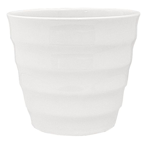 85-5548-7WHT- PLANTER 5.5 HT X 6.5″ OP OP RIBBED TAPERED WHITE