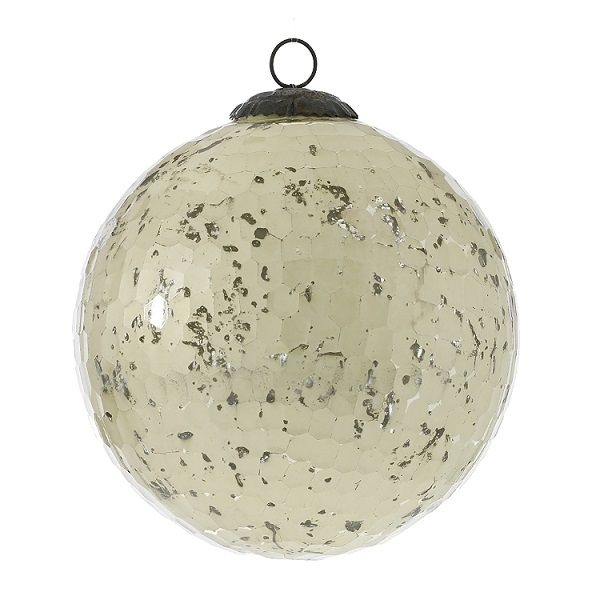 1221100 –  6″ OFF WHITE ANOMALY GLASS ORNAMENT