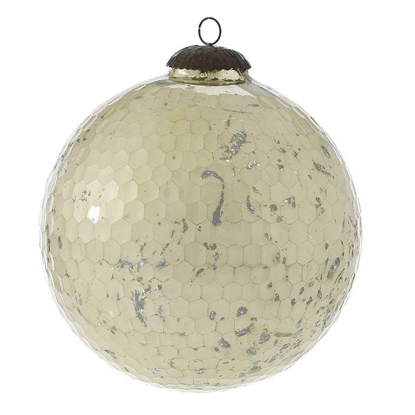 1221200 –  8″ OFF WHITE GLASS ANOMLY ORNAMENT