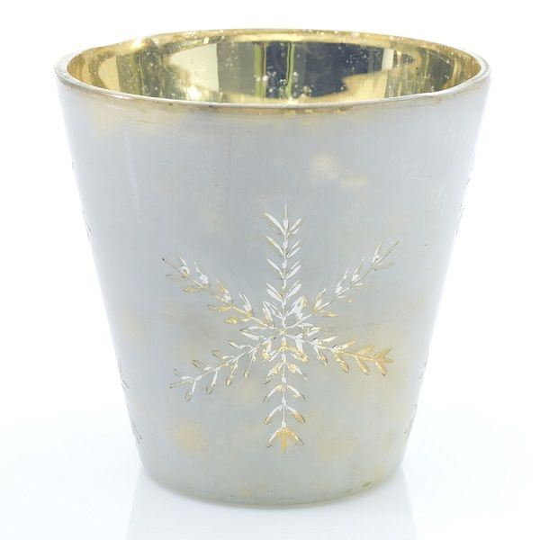 3069100 –  6″ X 6″ WHITE GLASS FLURRY VOTIVE