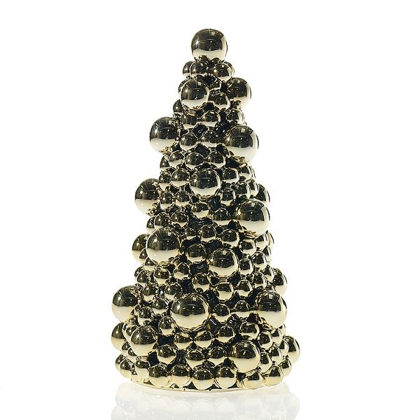 9967100 –  12.75″HT X 7″ GOLD BAUBLE TREE