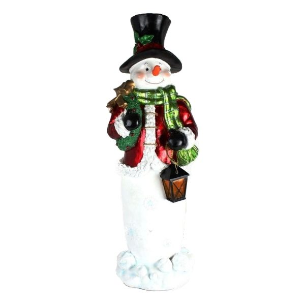 268222 –  42.5″ POLYRESIN SNOWMAN, RED, WHITE, GREEN