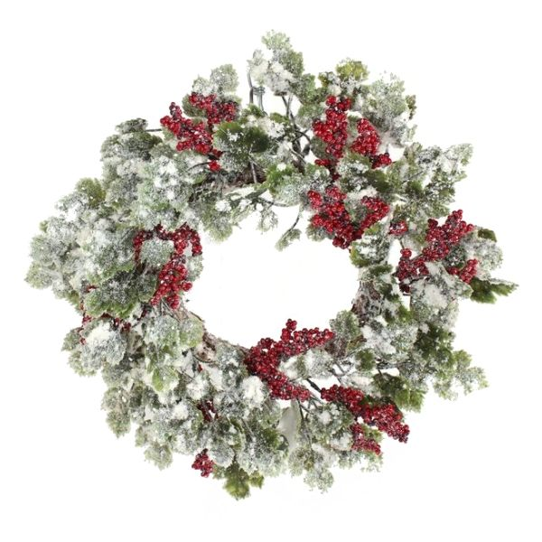268476 –  16″ SNOWY IVY & BERRY WREATH, RED/GRN/WHT