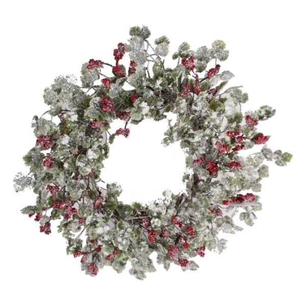 268477 –  22″ SNOWY IVY & BERRY WREATH, RED/GRN/WHT
