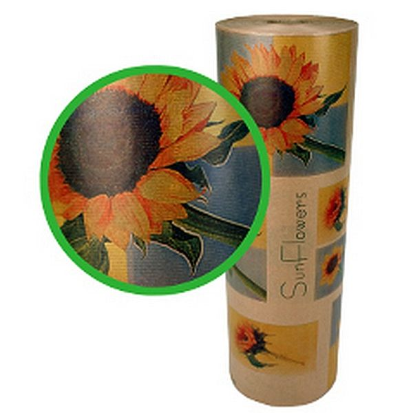 42645971 –  BROWN KRAFT PAPER W/SUNFLOWERS 60 CM (24″) X 12 KG (APPROX 1000′)