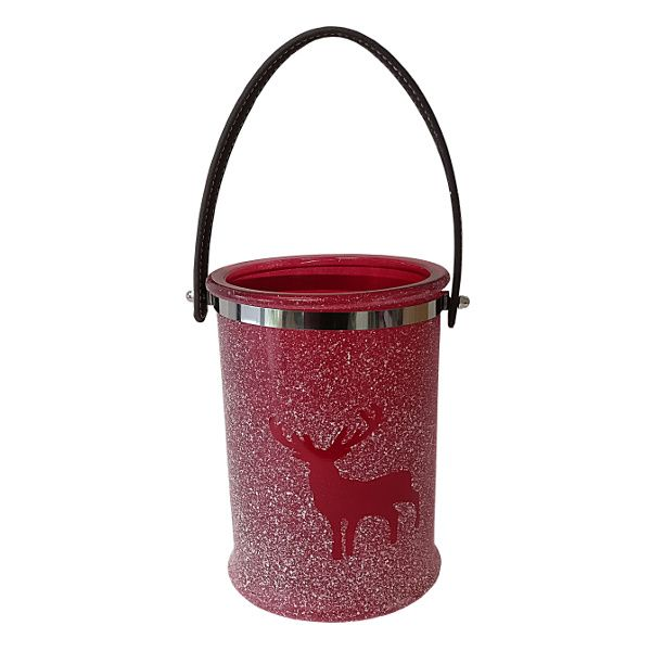 261424-  XM CANDLEHOLDER 8.5″ REINDEER FROSTED RED CS/8