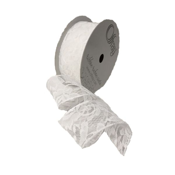 224120-700 –  #40 X 25 YDS WHITE WIRED LACE RIBBON