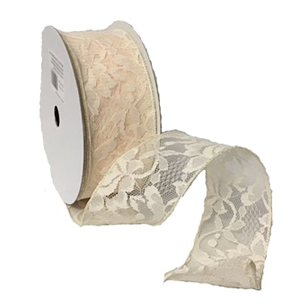 224120-701 –  #40 X 25 YDS IVORY WIRED LACE RIBBON