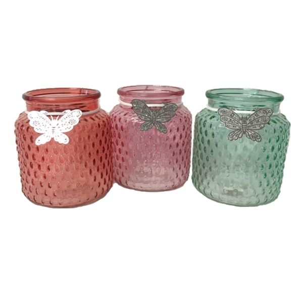 G381 –  4.5″ VASE W/BUTTERFLY, 3 ASSORTED COLOURS, CS/12