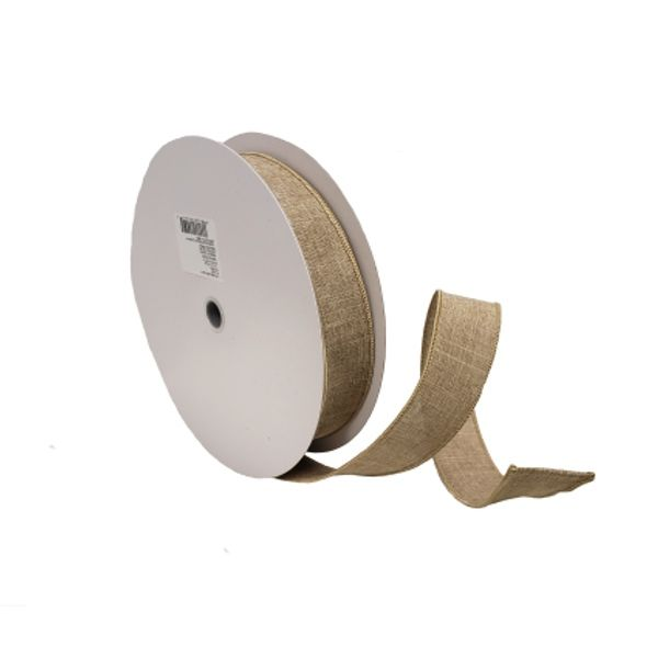 604521  –  #9 X 50 YDS NATURAL WIRED LINEN RIBBON