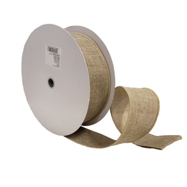 604538  –  #40 X 50 YDS NATURAL WIRED LINEN RIBBON