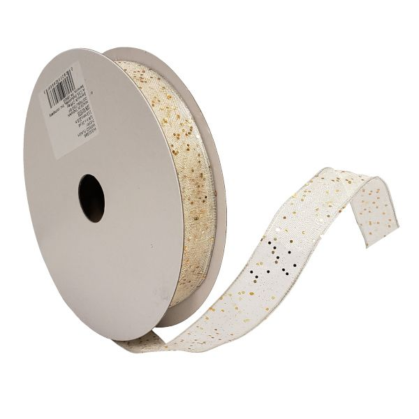 W3503-86  –  #3 X 25 YDS IVORY/GOLD WIRED FLASH RIBBON
