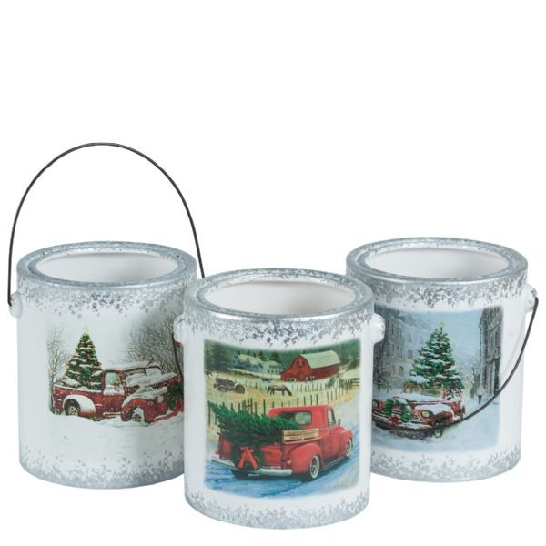 1037PTR/1RTR  –  7.5″ RED TRUCK PATTEREND CANDLEHOLDER, 3 ASSORTED