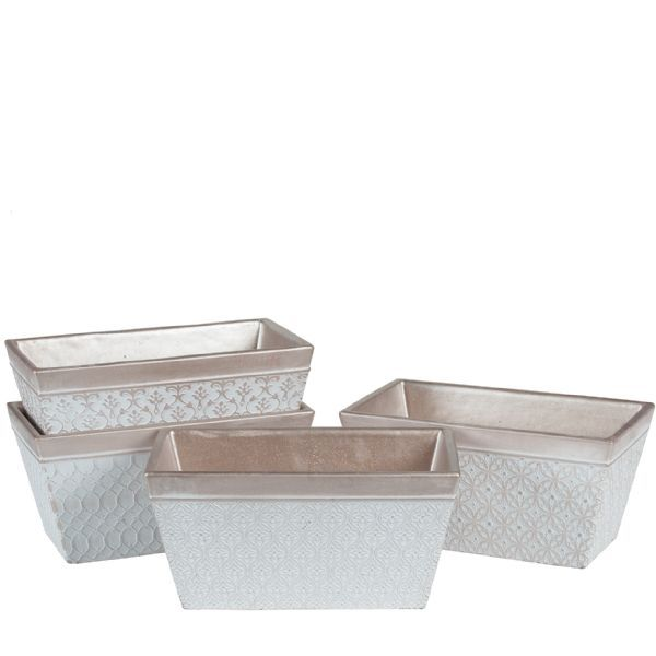 2186CM/1CHM  –  12.5″ CHAMPAGNE CEMENT RECT PLANTER, 4 ASSORTED