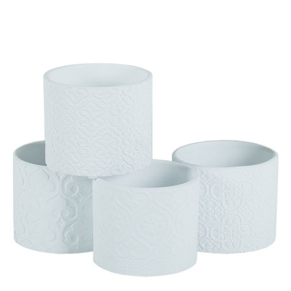 3103CM/1WHB  –  3.5″ EMBOSSED WHITE CEMENT POT, 4 ASSORTED
