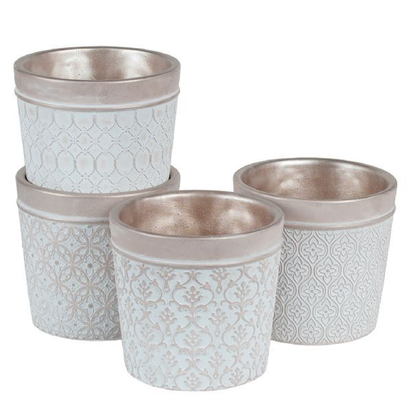 3576CM/1CHM  –  6″ X 6″ RND CHAMPAGNE CEMENT PLANTER, 4 ASSORTED