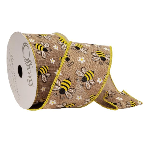 226585  –  #40 X 10 YDS WIRED NATURAL HONEYBEE RIBBON