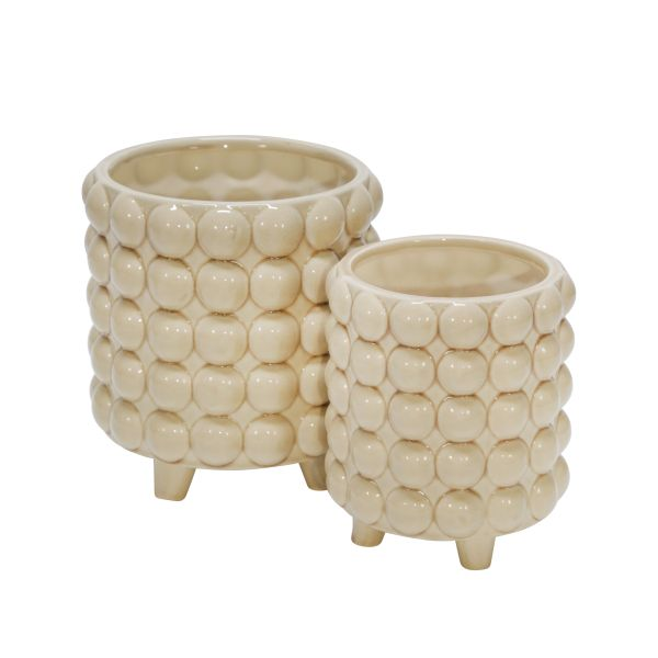 1450418  –  6″ – 8″ BEIGE BUBBLE FOOTED CERAMIC PLANTER SET, SET/2