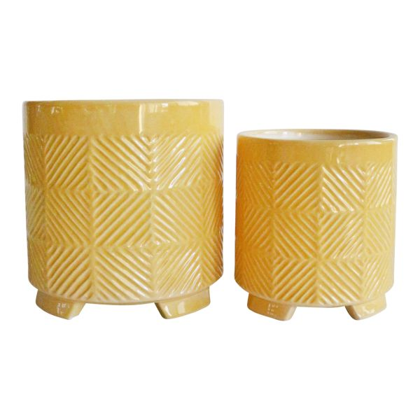 1450423  –  6″ – 8″ ABSTRACT YELLOW FOOTED CERAMIC PLANTER SET, SET/2