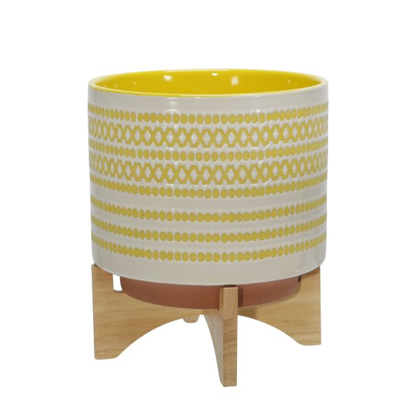 1475806  –  10″ YELLOW/WHITE DOT CERAMIC PLANTER