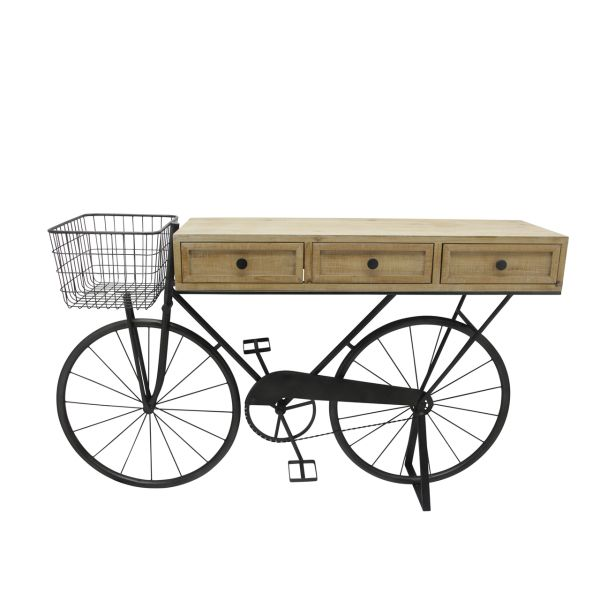 14903  –  34″ IRON/WOOD BROWN BICYCLE CONSOLE W/DRAWERS