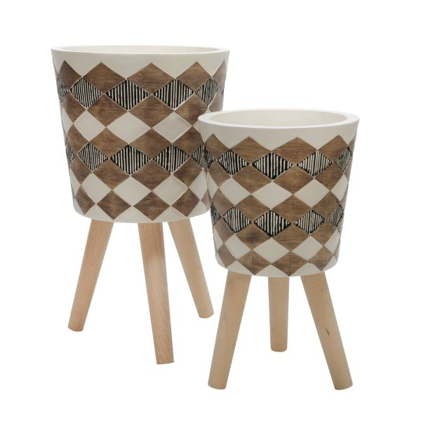 1502003  –  10″ – 12″ WHITE/BROWN DIAMOND PLANTER SET W/WOOD LEGS, SET/2