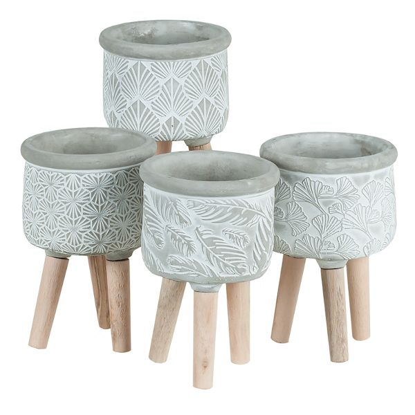 3-089CM/1PST  –  4.5″ X 7″ CEMENT POT ON WOOD STAND, 4 STYLES