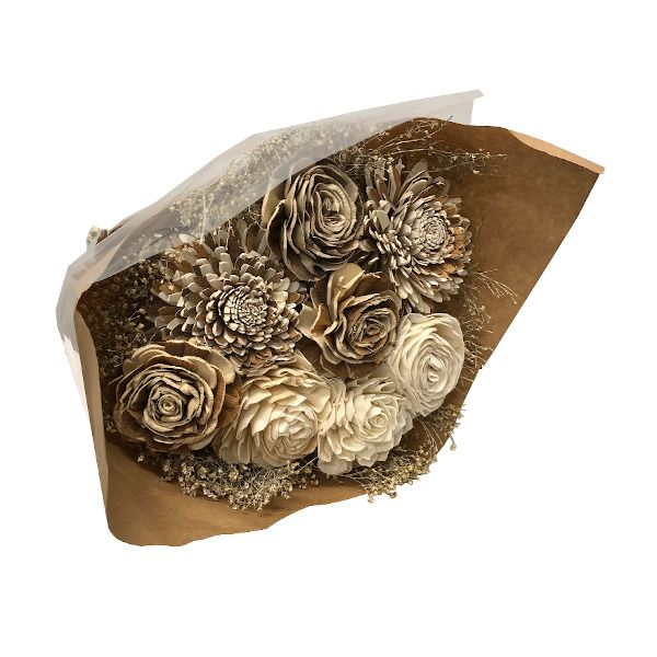 01325  –  DRIED WHITE/NATURAL SOLA FLOWER BOUQUET