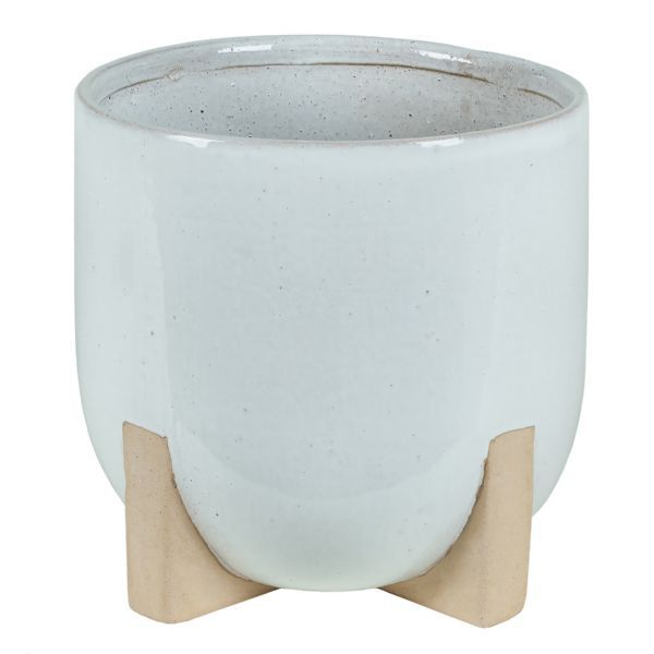 3-150PTR/1FT  –  11″HT X 10.5″OP WHITE FOOTED GLAZED POT